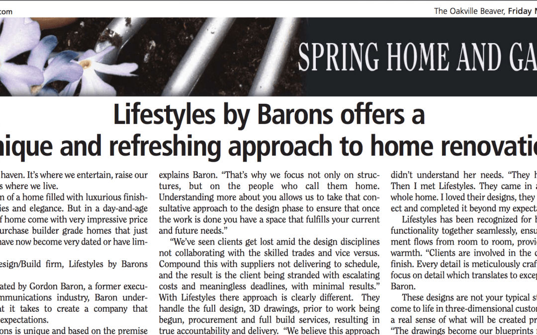 Lifestyles featured in the Oakville Beaver